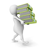 White 3D person carrying  pile of office ring binders Royalty Free Stock Images