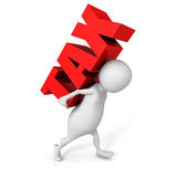 White 3D person carrying red word tax Royalty Free Stock Images