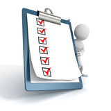 White 3d Person with a Clipboard Check ToDo List Royalty Free Stock Photo