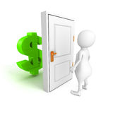 White 3d person with dollar currency symbol behind door Royalty Free Stock Photography