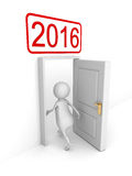 White 3d Person Enterring In 2016 New Year Door. 3d Render Illustration Royalty Free Stock Image