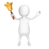 White 3d person holding gold hand bell. 3d render illustration Stock Images