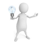 White 3d Person holding Light Bulb. Idea Concept Royalty Free Stock Photos