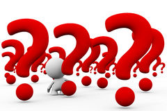 White 3d person in a huge array of giant question marks Stock Photography