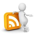 White 3d Person With Orange RSS Icon Stock Photos