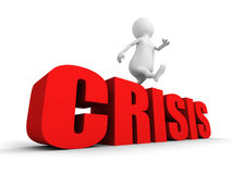 White 3d person overcome jumping over word CRISIS. 3d render illustration Stock Photo