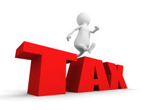 White 3d person overcoming obstacles TAX word Stock Images