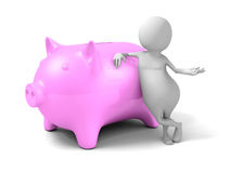 White 3d Person With Pink Piggy money Bank Royalty Free Stock Photos