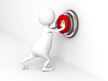 White 3D person pushing a red button. 3d render illustration Royalty Free Stock Image