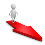 White 3d person on red arrow path to success Royalty Free Stock Photo