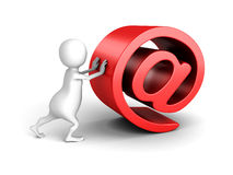 White 3d Person With Red AT E-mail Symbol. 3d Render Illustration Royalty Free Stock Photography
