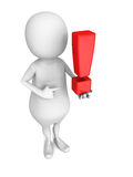 White 3d person with red exclamation mark Royalty Free Stock Photo