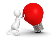 White 3d person with red idea light bulb. 3d render illustration Stock Image