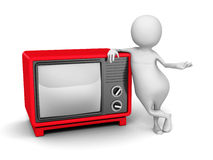 White 3d Person With Red Retro TV Stock Images