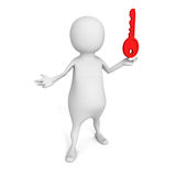 White 3d  person with red success  key. 3d render illustration Royalty Free Stock Photography