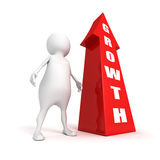 White 3d person with rising success growth arrow Royalty Free Stock Photography