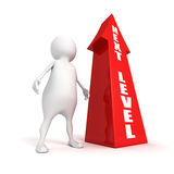 White 3d person with rising success NEXT LEVEL arrow Royalty Free Stock Photos