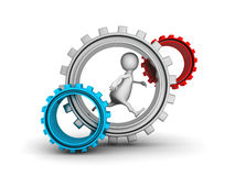White 3d Person Running In Gears Mechanic Royalty Free Stock Image