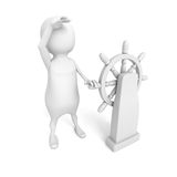 White 3d person with ship steering wheel Royalty Free Stock Photography