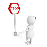 White 3d person  with stop road sign Stock Image