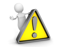 White 3d  person with yellow warning sign Royalty Free Stock Image