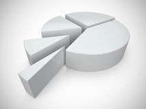 White 3D pie chart 1. 3D Illustratione white pie chart Royalty Free Stock Image