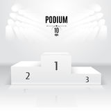 White 3D-podium template. Exhibition place. Designated after the. Competition Royalty Free Stock Images