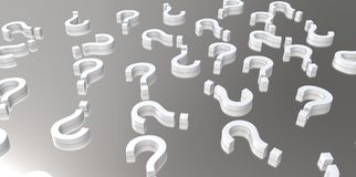 White 3D question marks on grey gray silver background Stock Photo
