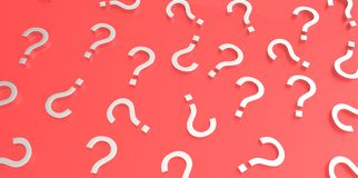 White 3D question marks on red background Royalty Free Stock Photography