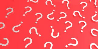 White 3D question marks on red background Royalty Free Stock Photos