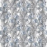 White 3d roses seamless pattern. Silver vector floral background. Vintage damask ornaments vector illustration