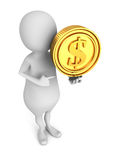 White 3d small person with golden dollar currency coin Royalty Free Stock Photo