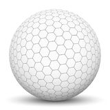 White 3D Sphere with Honeycomb Texture. White 3D Sphere with Mapped Black and White Honeycomb Texture for Your Design and Business Isolated on White Background royalty free illustration