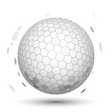 White 3D Sphere with Mapped Black and White Honeycomb. In vector on white background Royalty Free Stock Photos