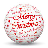 White 3D Sphere with Mapped Red Holiday Season Texture. White 3D Sphere with Mapped Merry Christmas Texture on White Background and Smooth Shadow. Holiday Season royalty free illustration