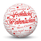 White 3D Sphere with Mapped Red Holiday Season Texture. White 3D Sphere with Mapped Merry Christmas Texture on White Background and Smooth Shadow in German stock illustration
