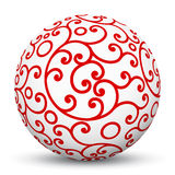 White 3D Sphere with Red Aesthetic Ornament Texture Pattern. White 3D Sphere with Mapped Red Aesthetic Texture Pattern on White Background and Smooth Shadow vector illustration