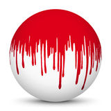 White 3D Sphere with Red Blood Splatter Texture Mapping. Vector Illustration - White Background with Smooth Shadow stock illustration
