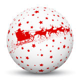White 3D Sphere with Red Starlets and Santa Claus with Reindeer. Sled Texture on White Background. Holiday Season - Christmas Greeting Card - Symbol, Decoration vector illustration