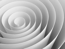 White 3d spiral made of paper with soft shadows. Abstract digital illustration, background pattern Royalty Free Stock Photo