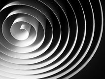 White 3d spiral made of paper tape over black. White 3d spiral made of paper tape with dark shadows over black background, abstract digital illustration Royalty Free Stock Photography