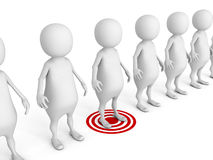 White 3d target man in row of others Royalty Free Stock Images