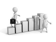 White 3d team. business success teamwork concept growing bar gra Stock Photos