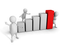 White 3d team with growing bar chart diagram Stock Images