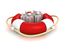 White 3d team people in lifebuoy. Business concept 3d render illustration Stock Photo