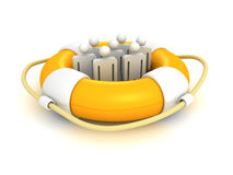 White 3d team people in lifebuoy Royalty Free Stock Images