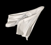 Abstract white falling cloth. White 3d textile element isolated on black background Stock Photography
