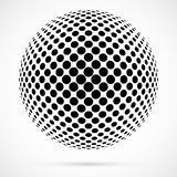 White 3D vector halftone sphere.Dotted spherical background.Logo. Template with shadow.Circle dots isolated on the white background Royalty Free Stock Photos