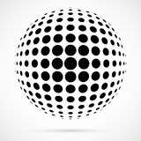 White 3D vector halftone sphere.Dotted spherical background.Logo. Template with shadow.Circle dots isolated on the white background Stock Photo