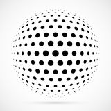 White 3D vector halftone sphere.Dotted spherical background.Logo Stock Image
